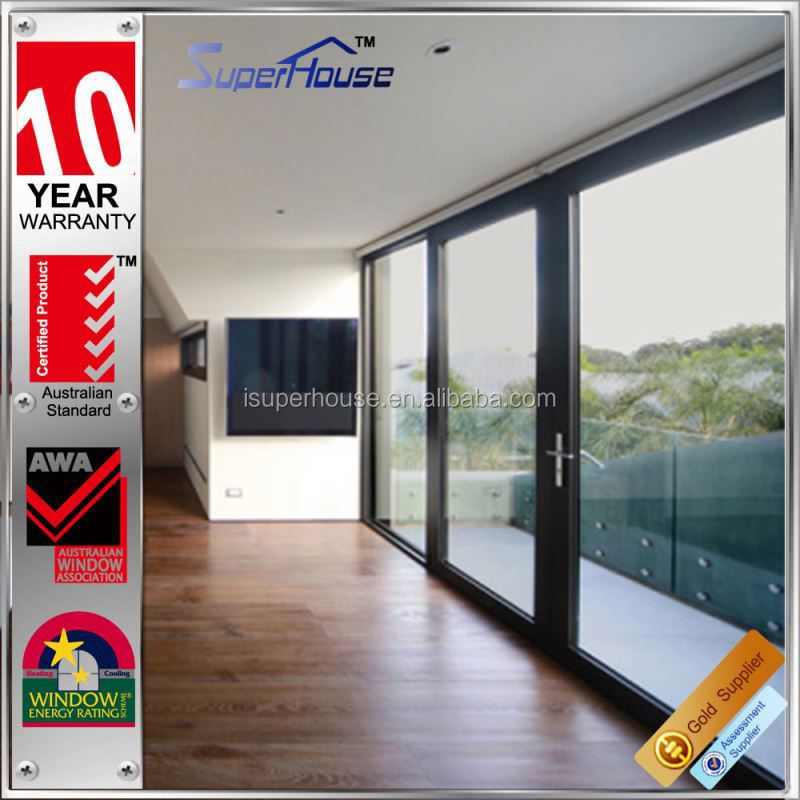 Commercial large aluminium slide toughened glass door with Australia AS2047 Standard