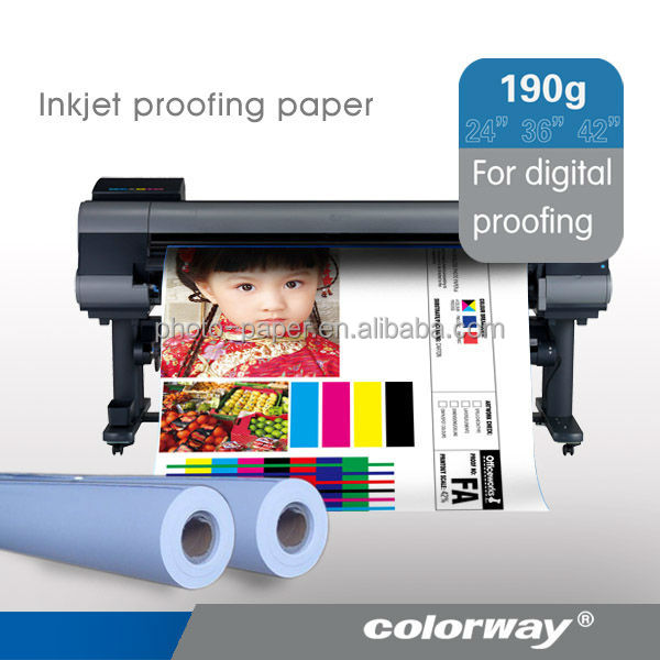 Best quality! 190gsm Semi glossy Inkjet Proofing Paper Roll for large format paper