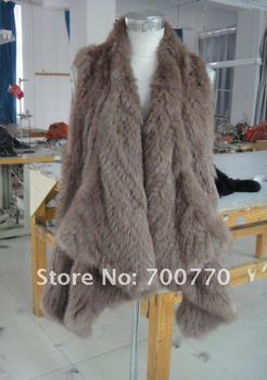 Rabbit Fur Hand Knitted Vest With Open Front And Peaked Hem 2012 New Hand Knitted Style Fashion Women Gilet STY.NO.3053-1