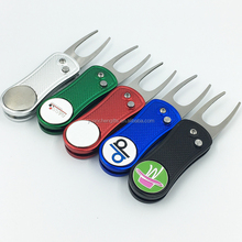 Mixed color switchblade golf divot tools with customized logo marker