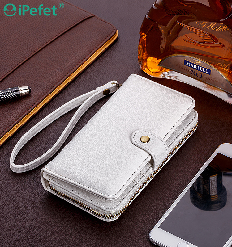 Multifunctional wallet phone case for iphone 6 with zipper
