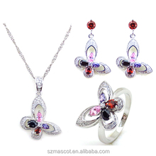 fashion multicolor stone butterfly pattern tat rhombus cubic gemstone jewelry set