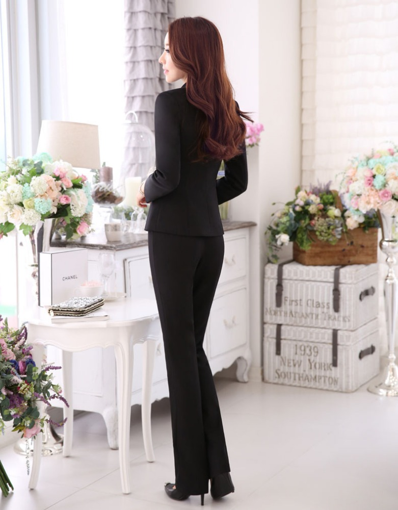 New Women Interview Formal Work Office Pant Suits OL Elegant Slim Business Suit