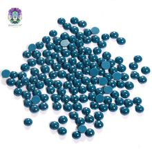 Best selling different styles blue green hot fix loose pearl