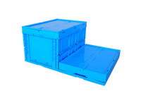 Blue Color 66L Folding Plastic Storage Box with Lock for Transportation