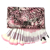 Gorgeous! Professional Brushes For Makeup 24 Pcs Make Up Brush Set Pink Synthetic Bristle in Leopard Leather Bag