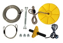Seated ZipLine Kit Cable Trolley Pulley with a handlebar and dual ball-bearing in wheels for backyard