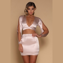 Lady Split Long Sleeve V Neckline Crafted From Luxuriously Sheen Satin Fabric Crop Top