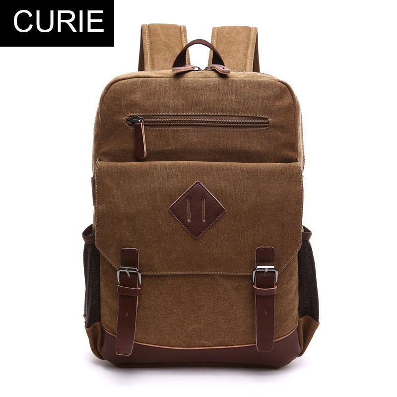 China Supplier Small MOQ Free Custom LOGO School Bags Backpack Vintage Canvas Backpack