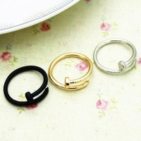 wholesale 2015 newest design fashion cheapest gold silver plating finger ring zinc alloy unique nail ring