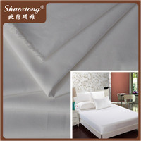Hotel bed sheet white plain polyester cotton poplin fabric