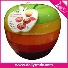 6 layers colorful apple shape snacks plates set