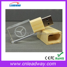 crystal usb stick hot selling wooden case memory disk bulk cheap pen drive for christmas gift 1GB to 32GB