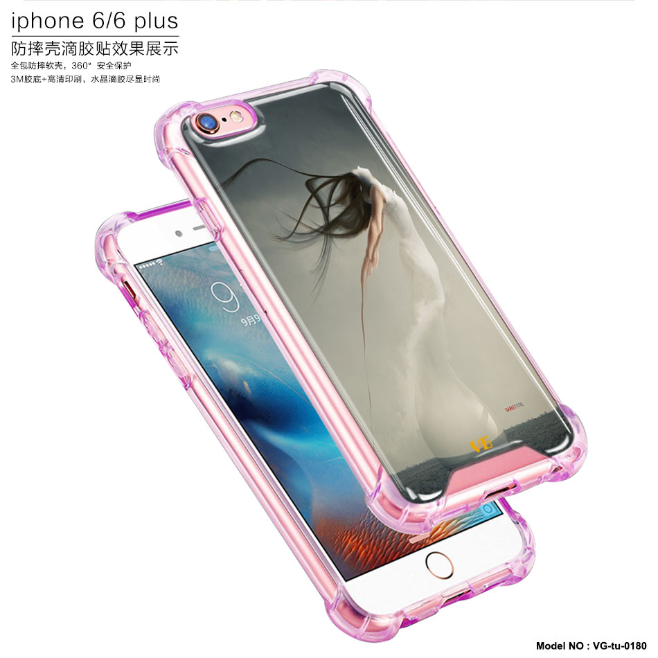 Unique customized soft clear tpu shockproof air cushion smartphone case for iPhone 6splus case