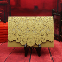 Best sell Gold pearl paper Embossed laser Cutting Chinese Wedding Invitation Card