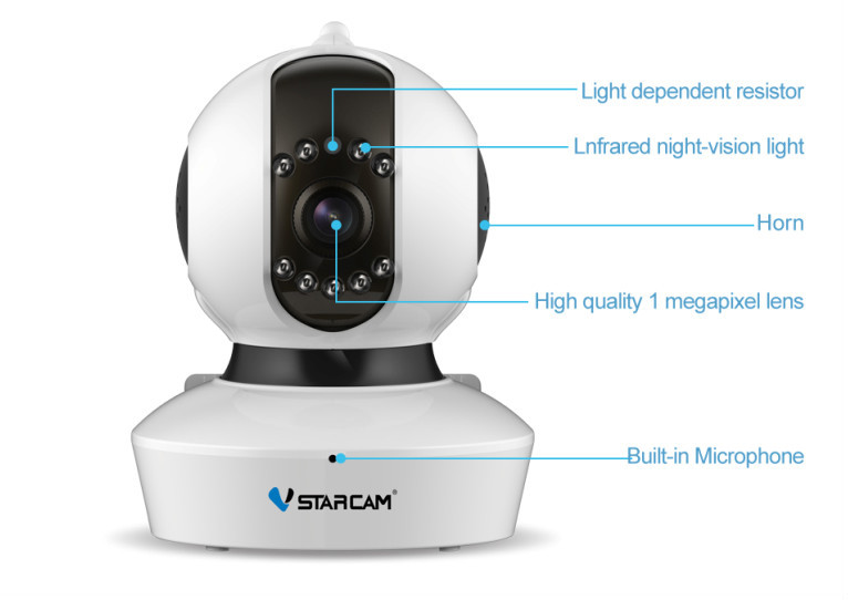 VStarcam CCTV ONVIF 1080P/720P pan tilt cmos p2p ir wifi camera indoor wireless hidden camera