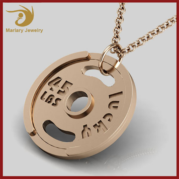 18K Rose Gold Plated Mens Jewelry Wholesale China Weight Plate Stainless Steel Pendant Necklace