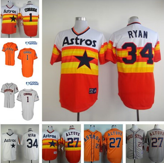 Can mix Order, Top Quality Houston Astros jersey 100% Stitched #34 Nolan Ryan Jersey authentic baseball #27 Jose Altuve jersey C