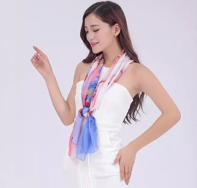 New fashion women printed chiffon floral scarf cheap light scarves for spring and summer