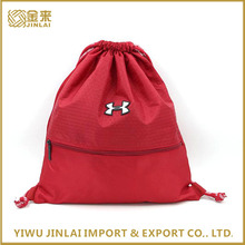 cheapest custom 210d nylon polyester promotional drawstring bag