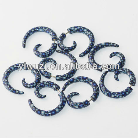 fancy bubble print fake spiral tapers piercings tribal ear gauges