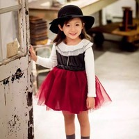kids dresses for girls 2016 new girls autumn fashion pu tulle tutu party dress toddler dress