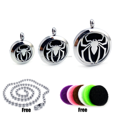 Round Silver Spider-Man (20mm-30mm) Essential Oils Diffuser Locket Aromatherapy Locket with Free Pads