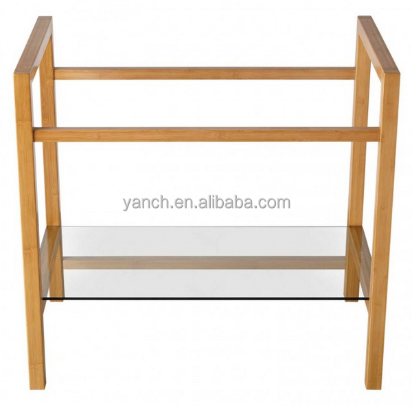 Natual bamboo bathroom floor storage cabinets