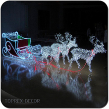 Led lighted christmas iron decorative santa sleigh decoration