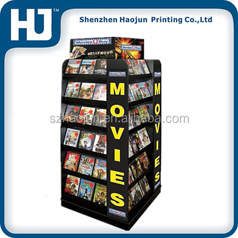 Attractive Four Sides Corrugated board movie DVD pallet display stand for Halloween,dvd store display stand