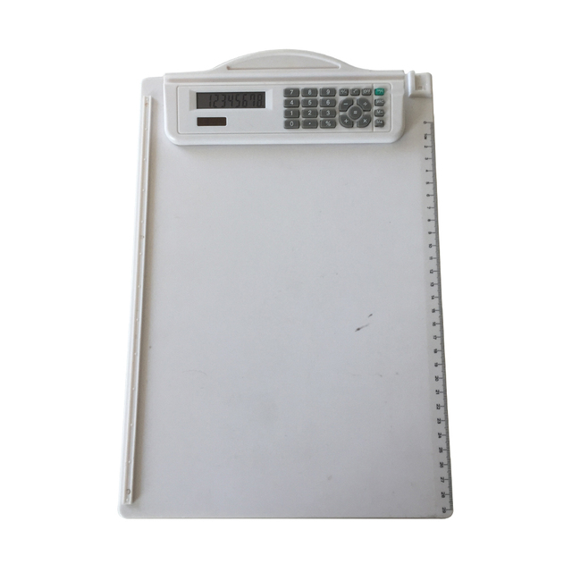 desktop stationery clip board with calculator and ruler