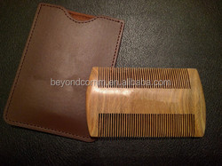 Wooden Beard Comb & synthetic leather Case - Fine & Coarse Teeth - Anti-Static and Wood Pocket Comb For Beards