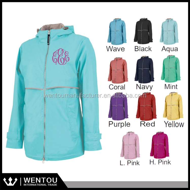 Wholesale Personlized Women Rain Coat Monogrammed Rain Jacket