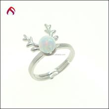 925 silver Ring jewelry special design antler shape round synthentic opal