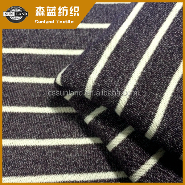 [HOT] 55% cotton 45% polyester melange look stripe french terry fabric