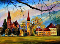 Best Price and Quality Skillful Artists Handmade Village Scenery 0il Painting for Hotel Decoration
