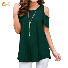 Short Sleeve Cold Shoulder Tops Casual Loose Blouse Round Neck 100%cotton women Tunics
