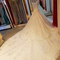 LS65573 100% real sample round neckline long train tissue wedding dress cover lahanga