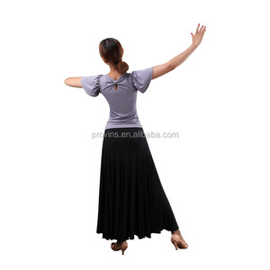 Wholesale Women Sexy Short sleeve Latin Dancewear Purple Ruffle Shoulder Dance Tops with Back Knot