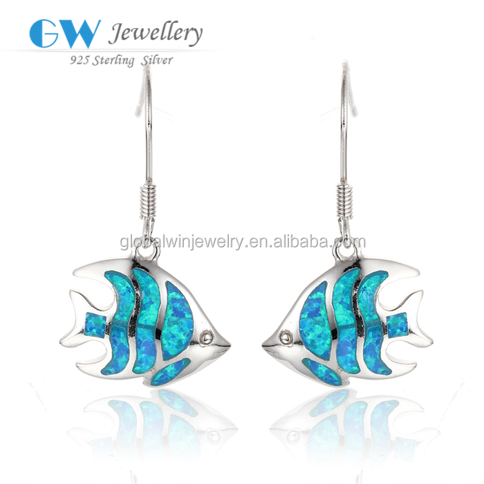 FE217 Ocean Opal Jewelry Fish Model Ladies Sterling Silver Drop Earring