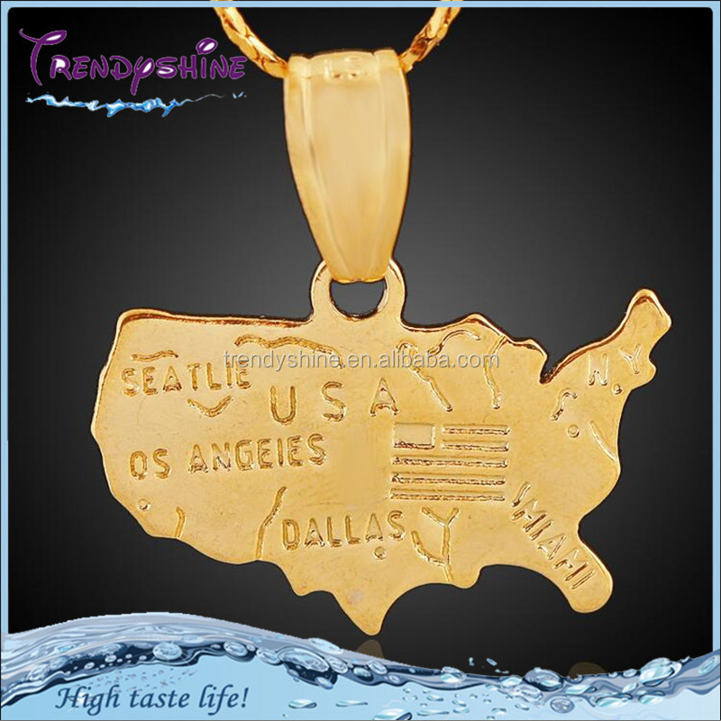 <strong>Fashion</strong> customized 18k gold American map pendant