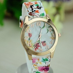 Hot Silicon Strap Beautiful Rose Flower Blue and white porcelain Super Design Geneva Wrist Watch for Women,students, Girls 2015