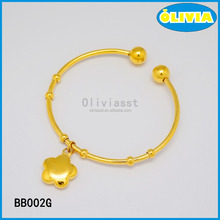 Olivia Stainless Steel Jewelry Making Supplies Gold Bangle With Flower