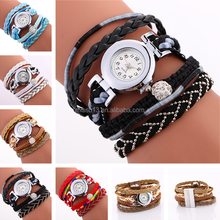 2017 new style soft leather strap crystal beads weave women wrist hand watch