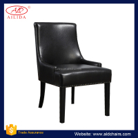 PC-103 Synthetic Leather Black Dining Chairs With Wooden Legs