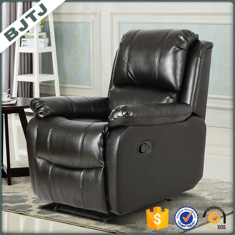 BJTJ Recliner reasonable price black leather ornate design sofa 70162