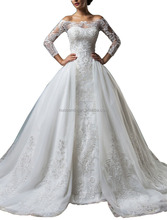 2016 Vintage Wedding Dress with Sheer Long Sleeves Ball Gown Appliques Lace Tulle Customize wedding dresses