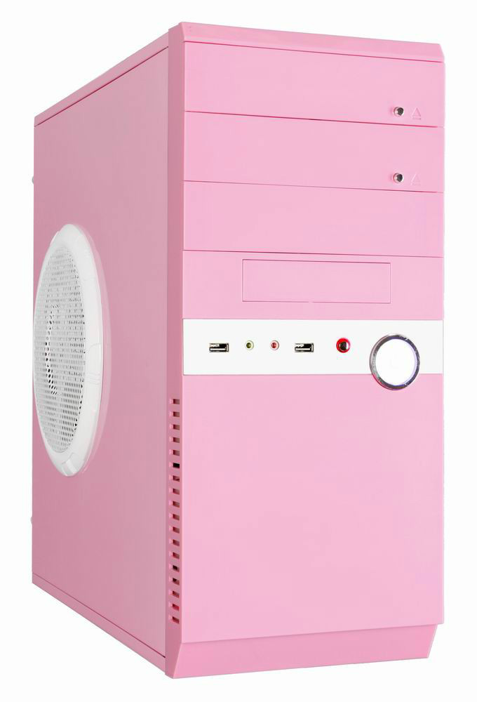 pc case,chassis L380*W180*H410mm,SECC 0.5mm,pink color