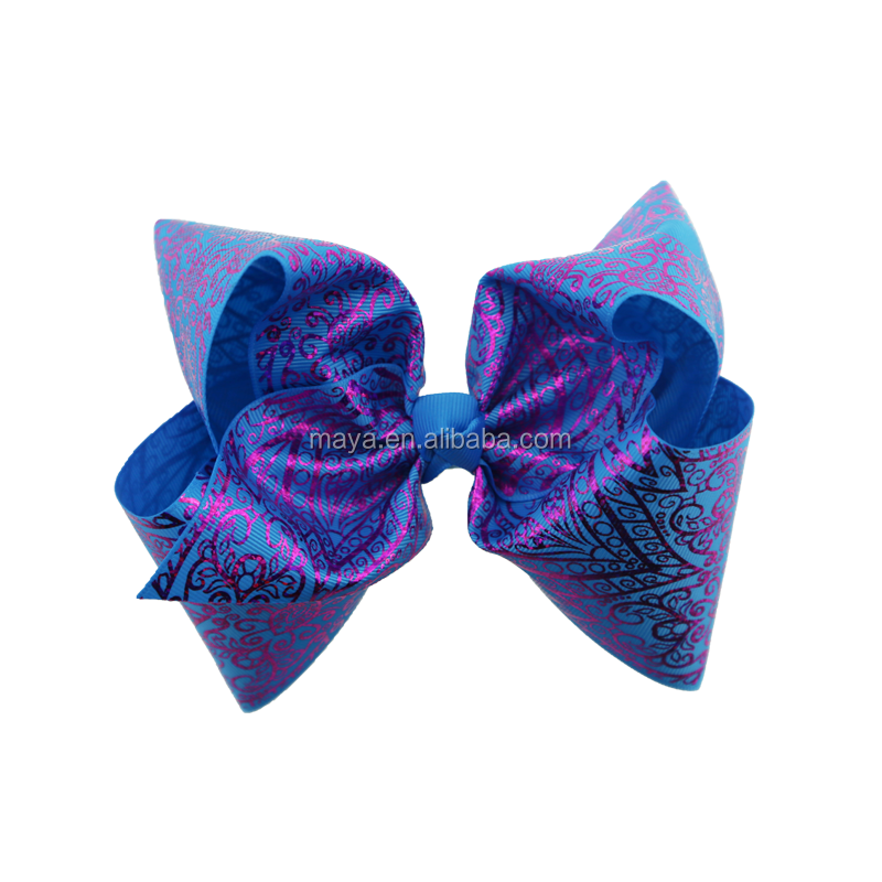 2018 New design sweet bows Popular 8 inch Large hair bows with ribbon printing girls colors fashion hair accessories