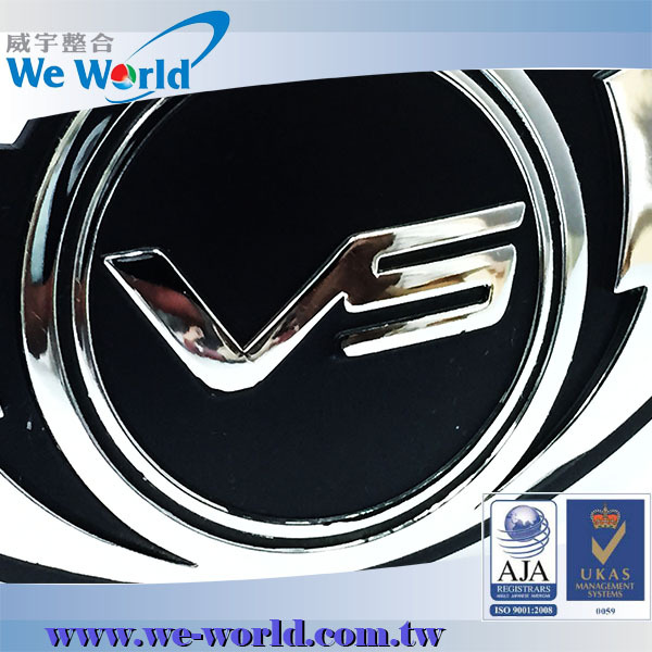 Stable quality high brightness platic injection glossy chrome 3d car logo